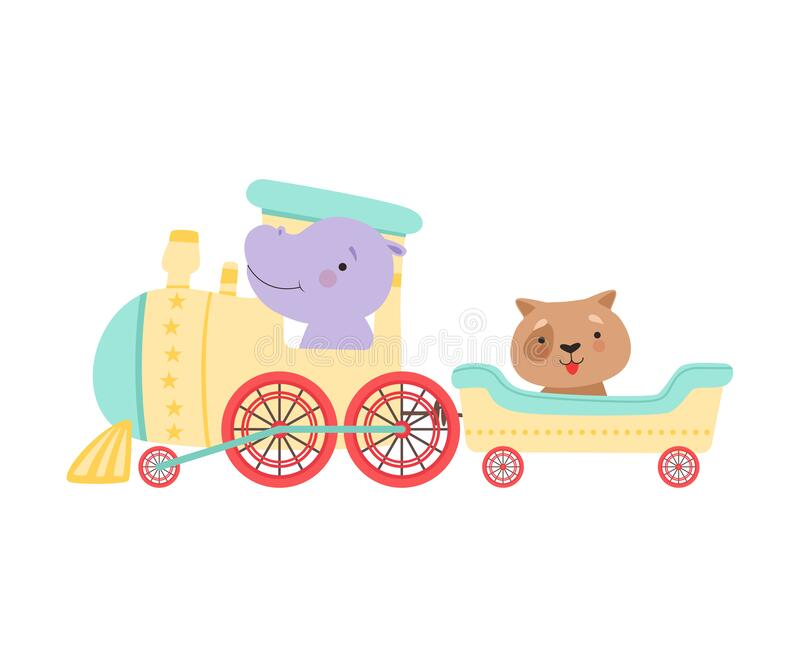 Cheerful Red Cheeked Hippo and Dog Driving Toy Train Vector Illustratie vector illustratie