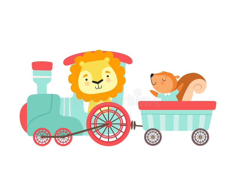 Cheerful Red Cheeked Lion and Squirrel Driving Toy Train Vector Illustratie vector illustratie