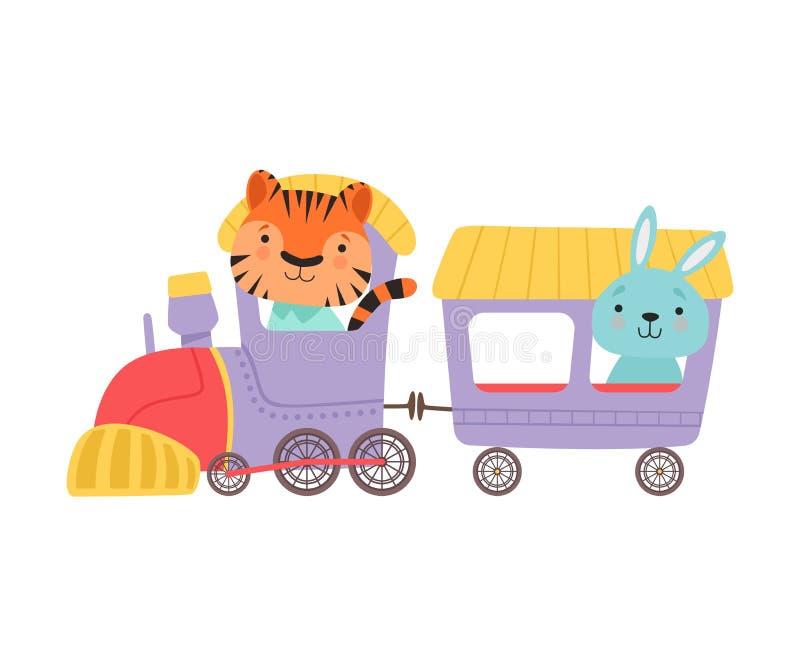 Cheerful Red Cheeked Tiger en long-oorige hazen Driving Toy Train Vector Illustration stock illustratie