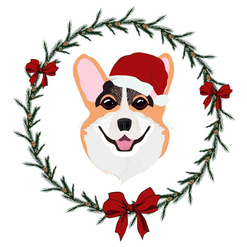 Cheerful red Welsh Corgi dog in Christmas hat and wreath from Christmas tree with a red bow royalty free illustration