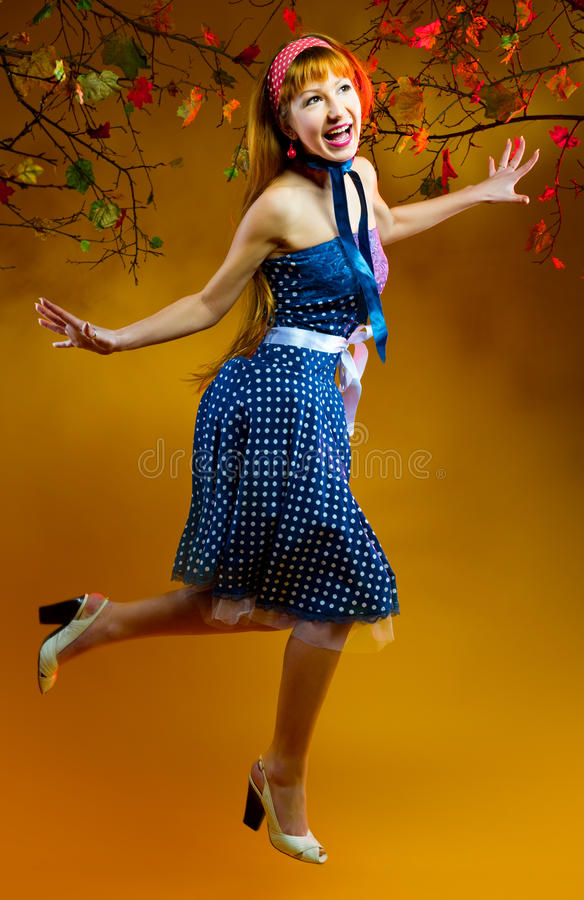 Cheerful redhead girl stock photo
