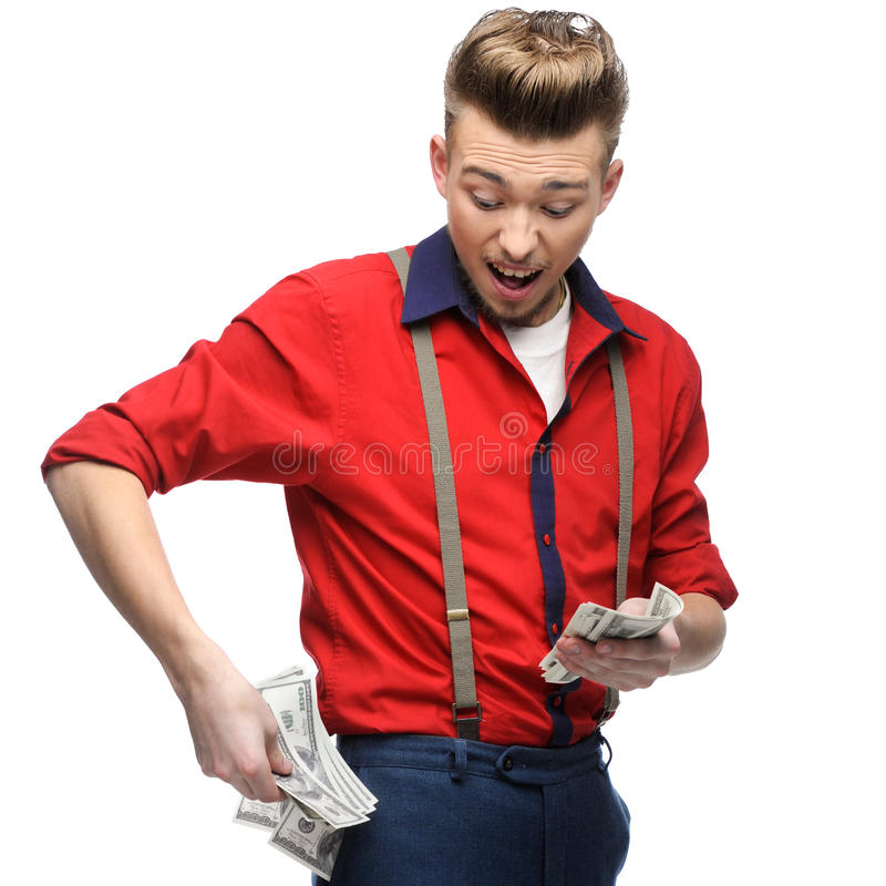 Download Cheerful Retro Man Holding Money Stock Image - Image: 43406069