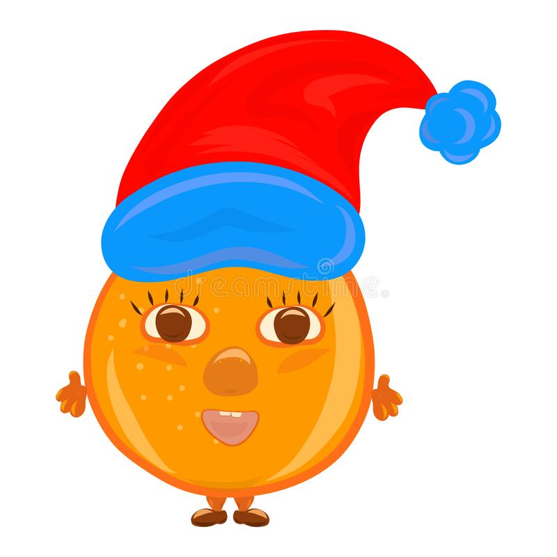 Cheerful round orange with a childish face in a Christmas hat vector illustration