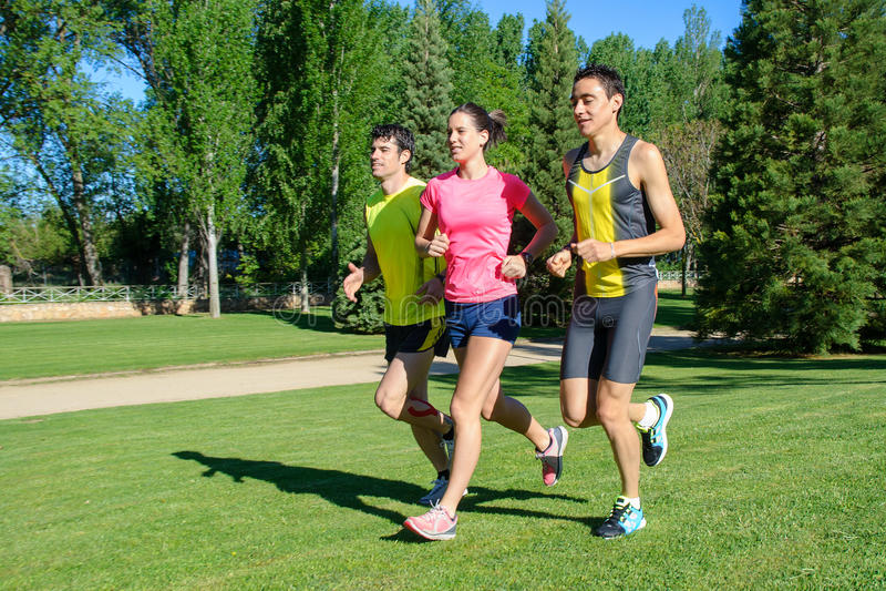Cheerful Runners royalty free stock photo