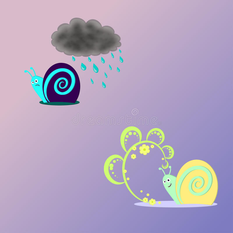 Cheerful and sad snail royalty free stock image