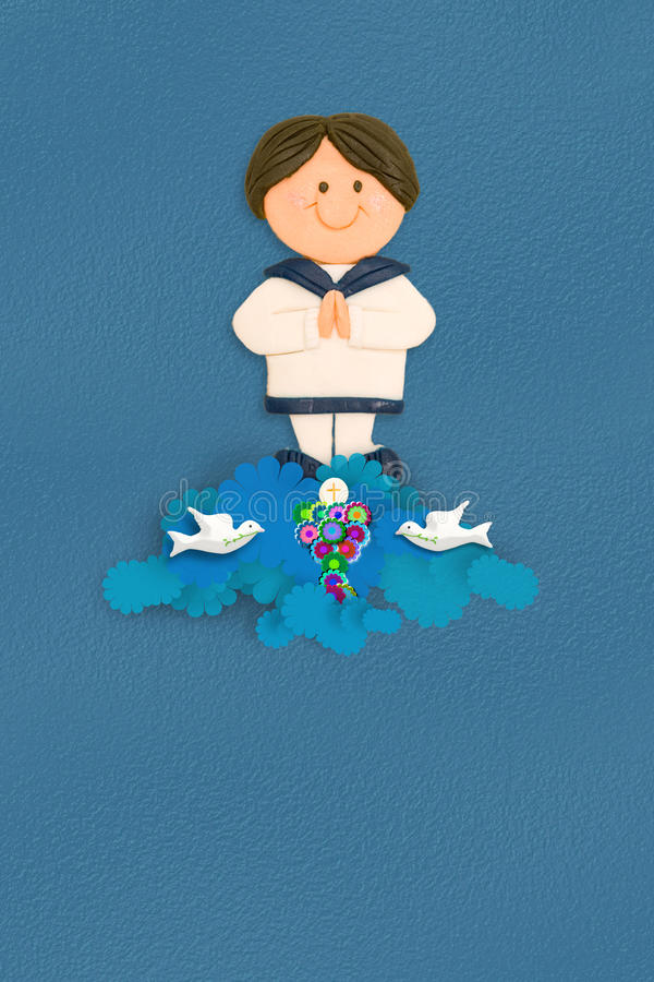 Cheerful sailor boy first communion invitation. Cheerful boy first communion dress sailor costume on blue background with empty space for text royalty free illustration