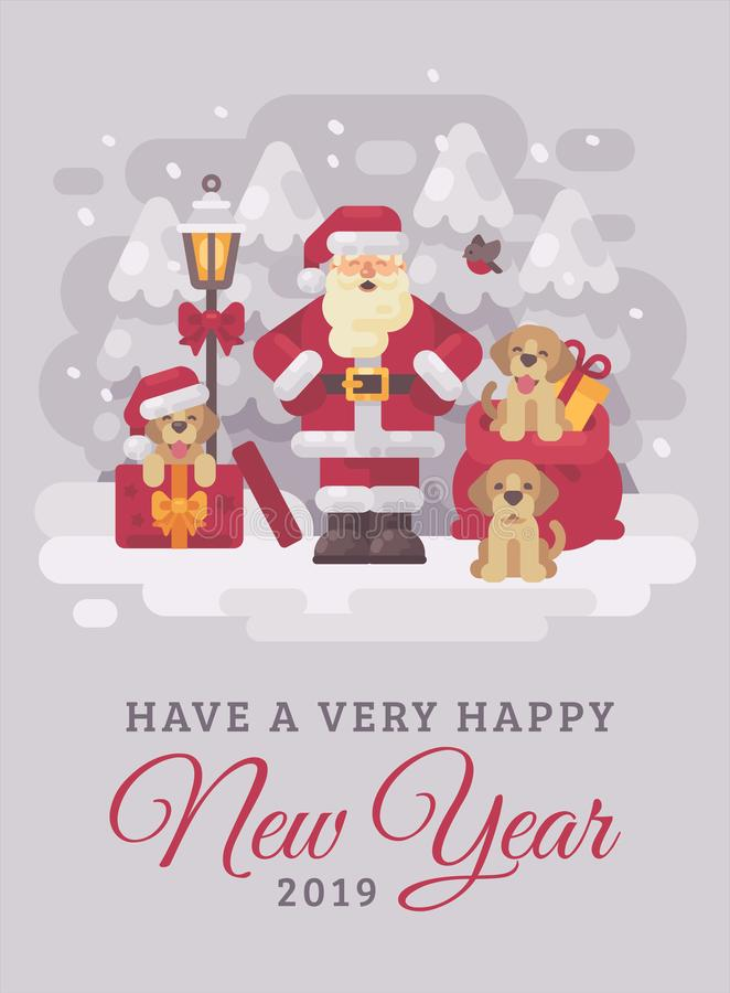 Cheerful Santa Claus with cute puppies Christmas greeting card flat illustration. Have a very happy New Year stock illustration