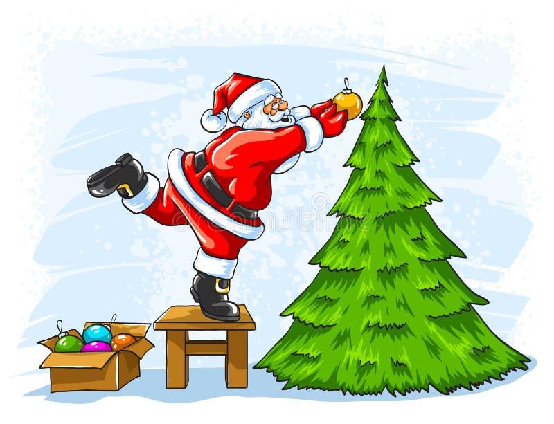 Cheerful Santa Claus Decorating Christmas Tree Royalty Free Stock Photos