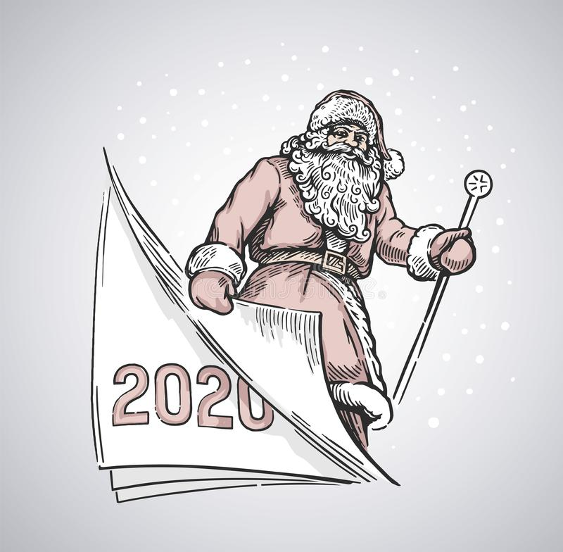 Cheerful santa turning a page. Symbolic of a the portrayed time of the past year, and the coming next vector illustration