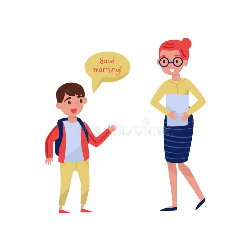 Cheerful school boy saying Good morning to his teacher. Good manners. Kid with backpack and woman with paper. Flat. Cheerful school boy saying Good morning to royalty free illustration