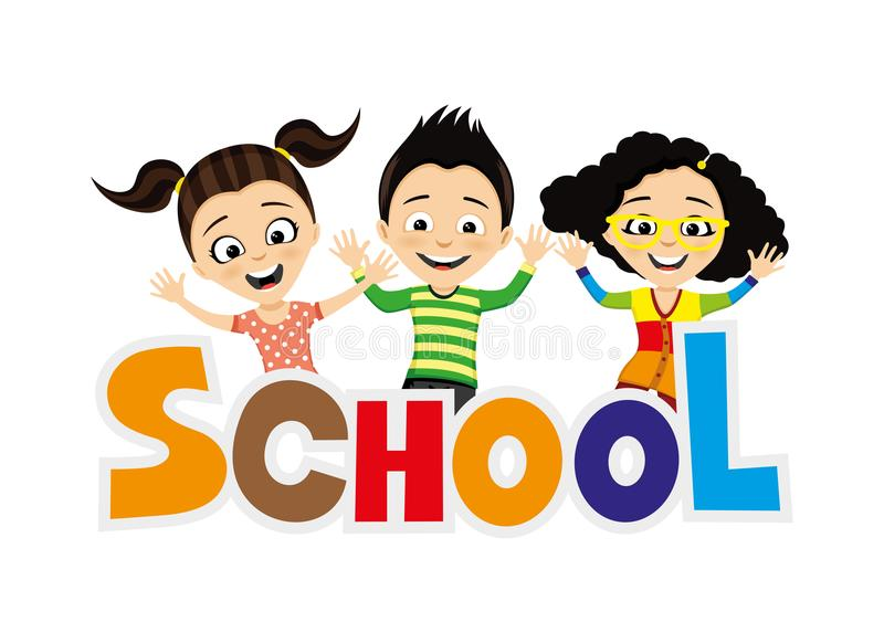 Cheerful school children. stock illustration