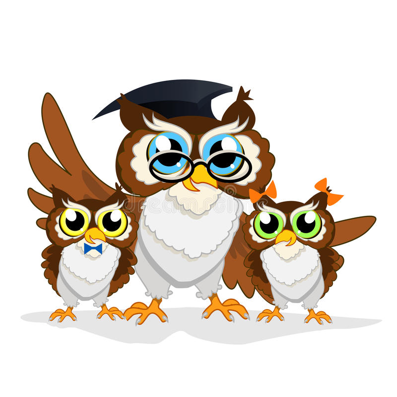 Cheerful school owl royalty free stock image