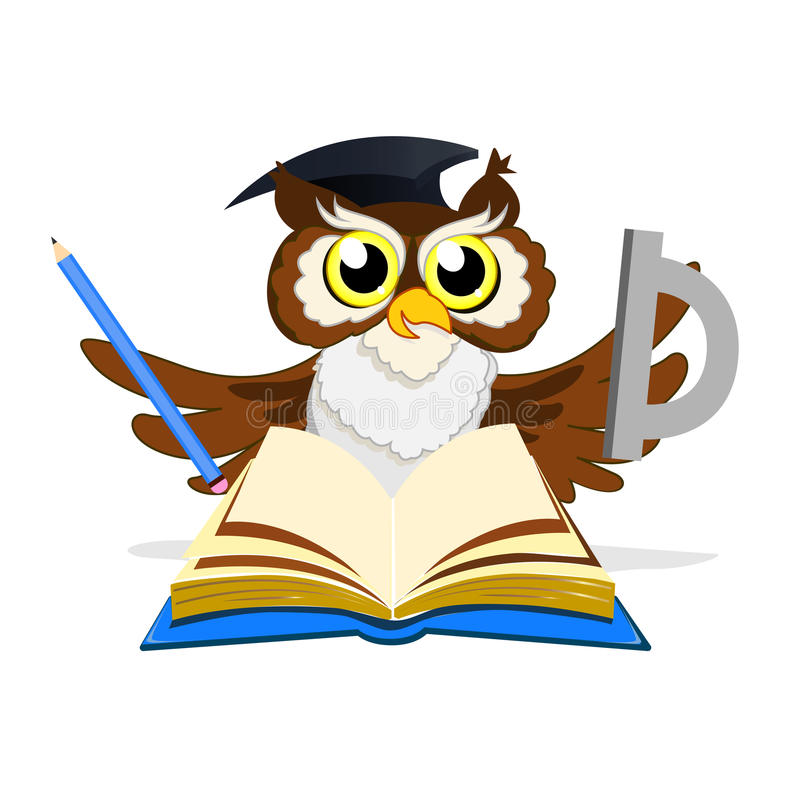 Cheerful school owl royalty free stock photography