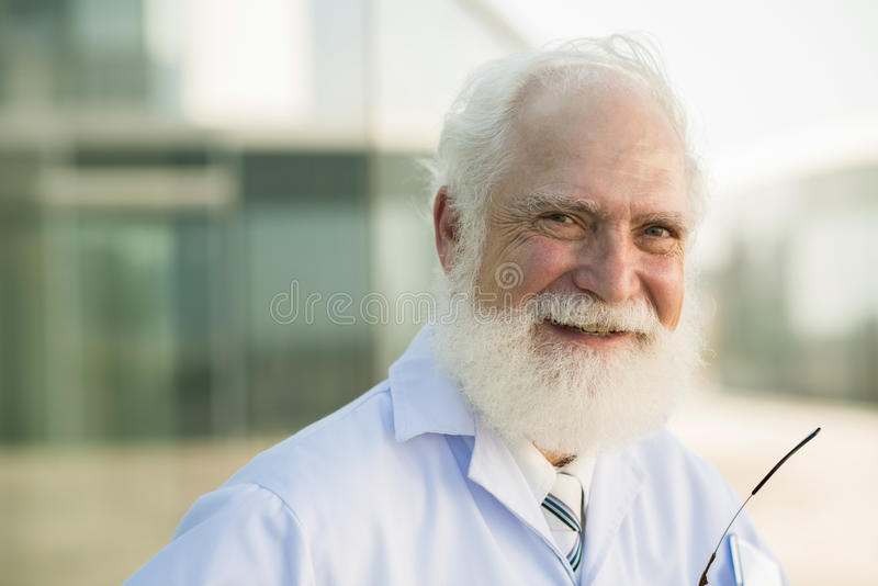 Cheerful scientist stock photo