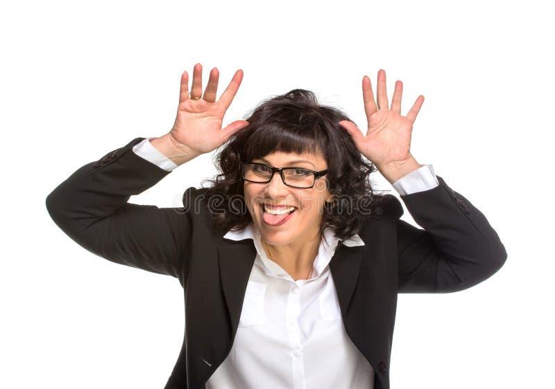 Cheerful senior business woman stock photos