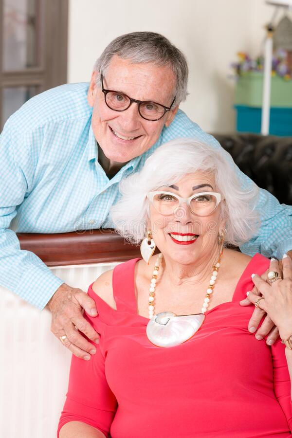 Cheerful Senior Man and Woman with Broad Smiles royalty free stock image