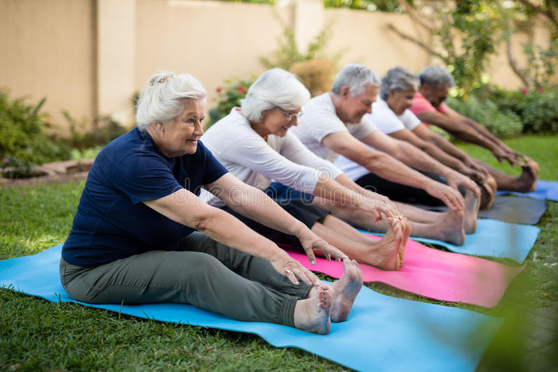 Cheerful seniors exercising on mats at park. Full length of cheerful seniors exercising on mats at park royalty free stock photos