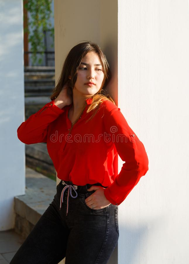Cheerful serious young Asian woman leaning against wall royalty free stock image