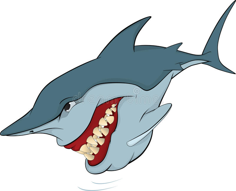Cheerful shark. Cartoon stock illustration