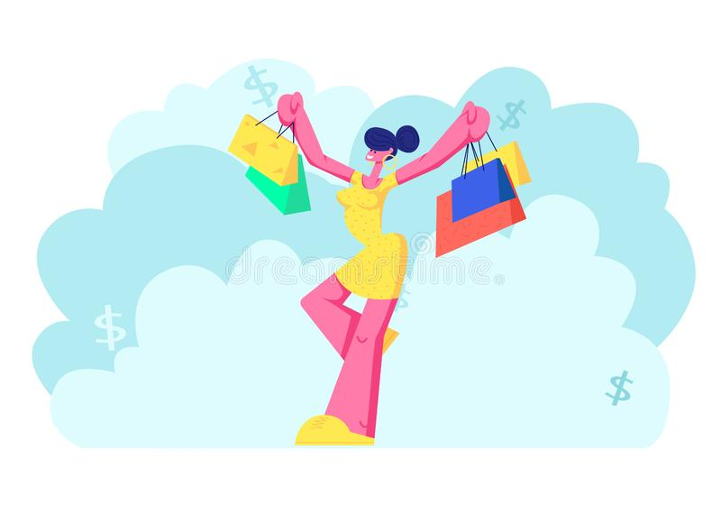 Cheerful Shopaholic Girl with Purchases in Colorful Paper Bags. Happy Woman Holding Shopping Packages. Female Buyer stock illustration