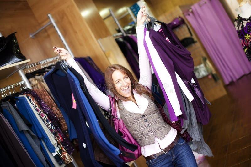Cheerful shopping woman royalty free stock photo