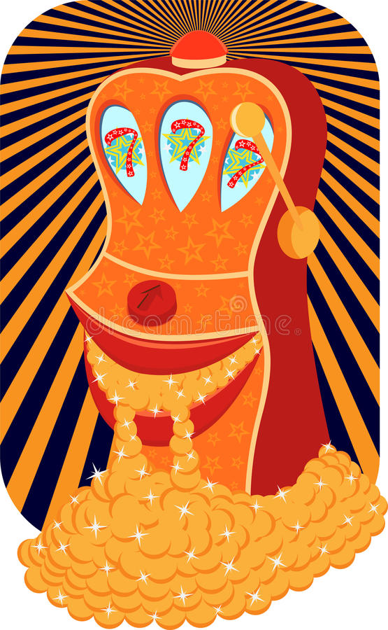 Cheerful slot machine royalty free illustration