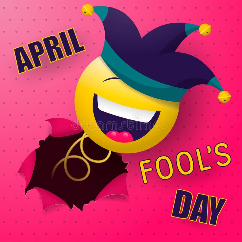 A cheerful smiley on a spring, in a jester`s cap, suddenly breaks through the wall. stock illustration
