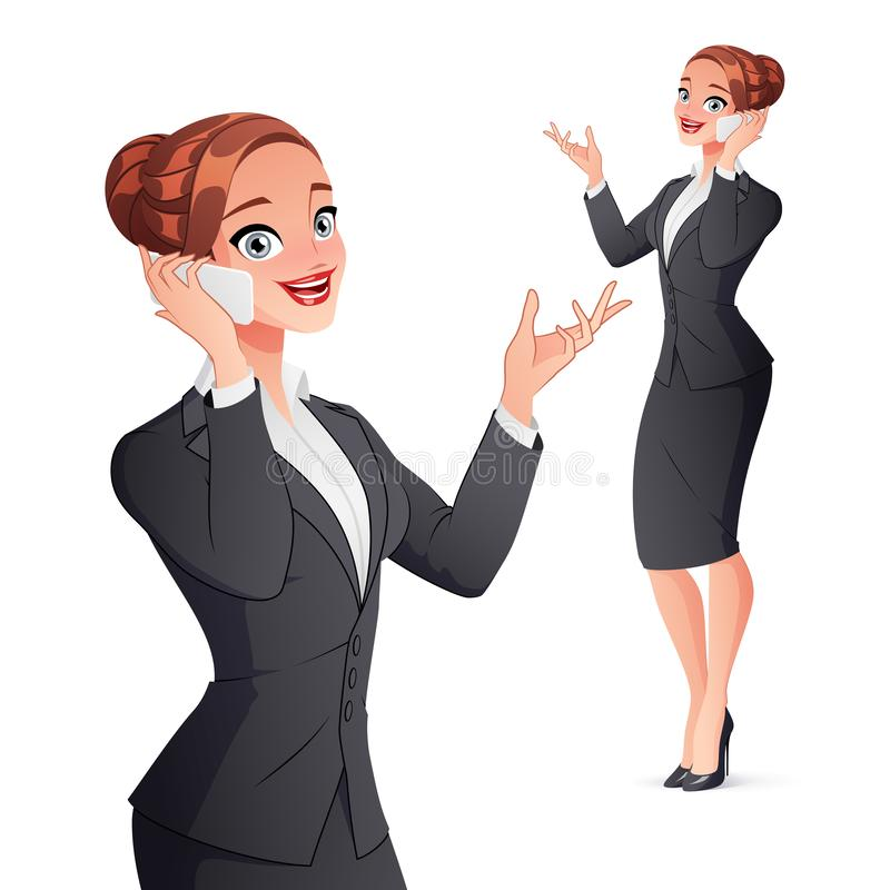 Cheerful smiling businesswoman talking on phone. Isolated vector illustration. Cheerful smiling businesswoman in office wear talking on phone. Vector royalty free illustration