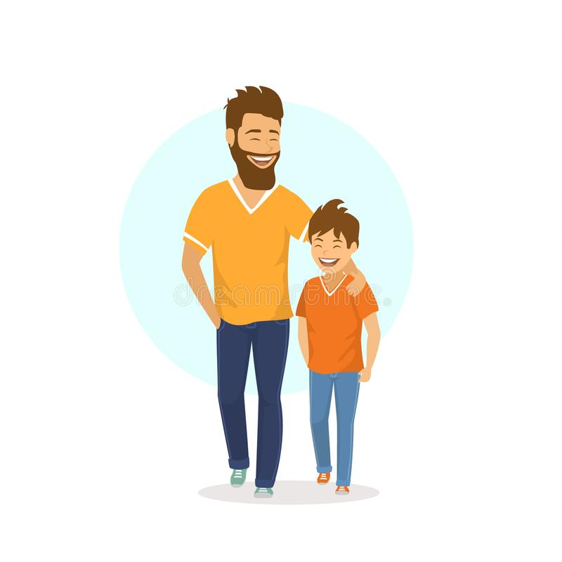 Cheerful smiling laughing father and son walking together, talking vector illustration