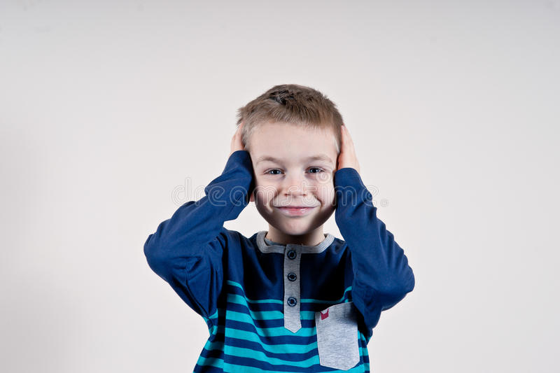 Cheerful smiling little boy royalty free stock photo