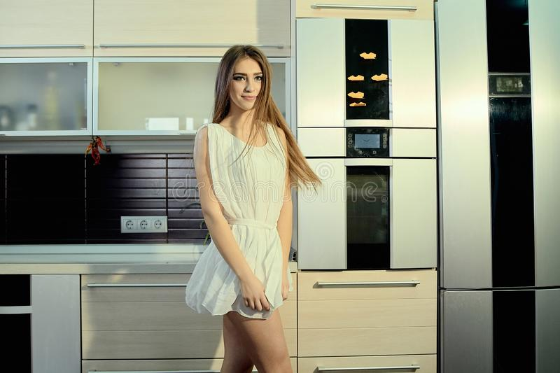 Cheerful smiling young white skin female with long brunette hair posing on the kitchen stock images