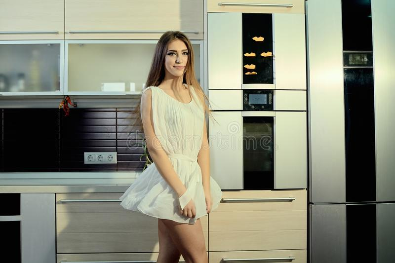 Cheerful smiling young white skin female with long brunette hair posing on the kitchen stock photos