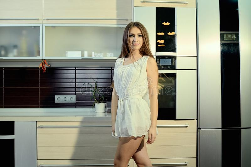 Cheerful smiling young white skin female with long brunette hair posing on the kitchen royalty free stock images