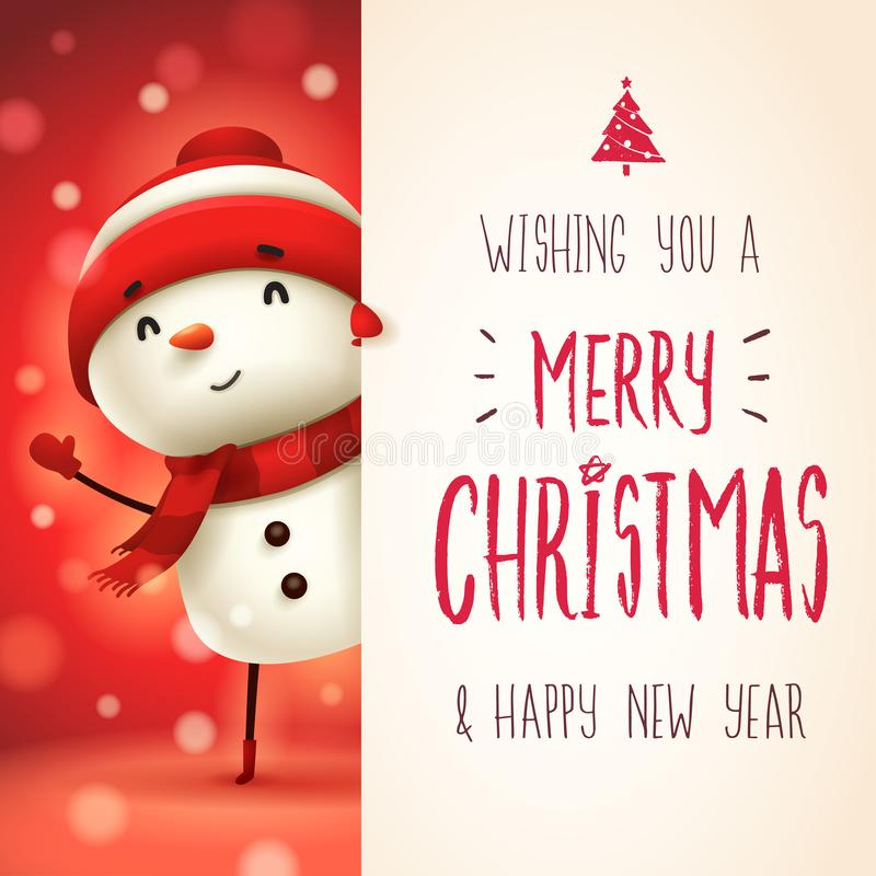 Cheerful snowman with big signboard. Merry Christmas calligraphy lettering design. royalty free illustration