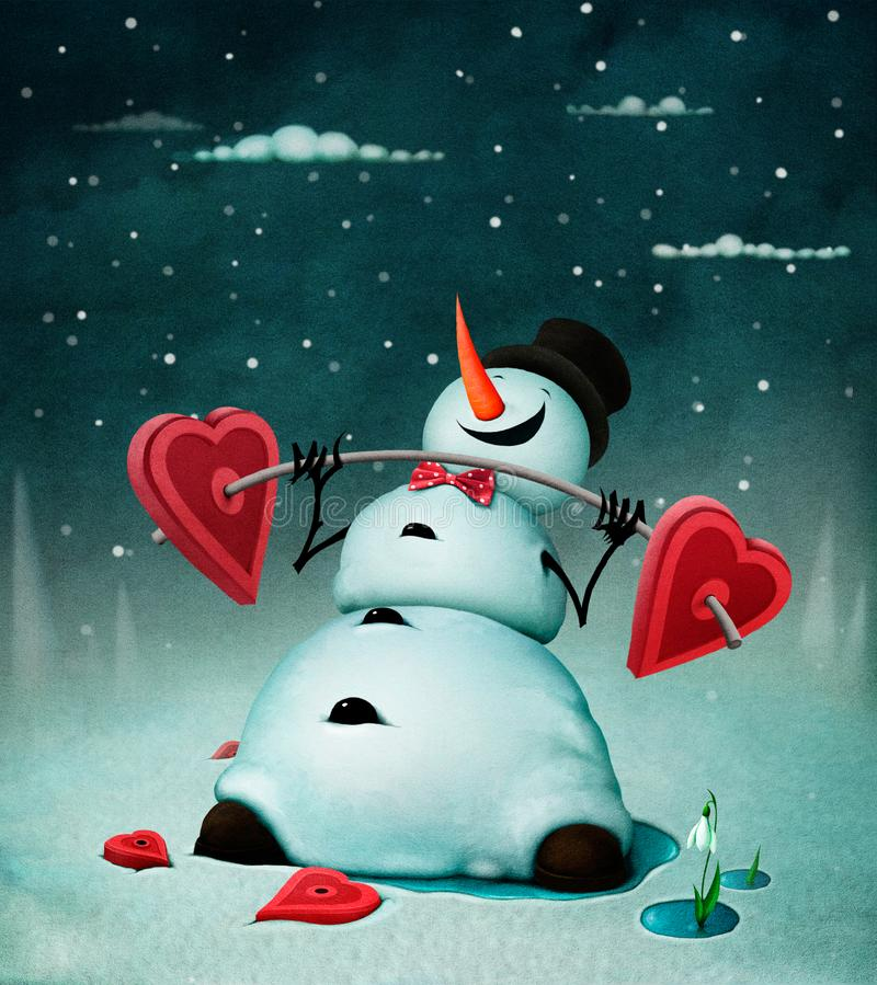 Cheerful snowman royalty free illustration