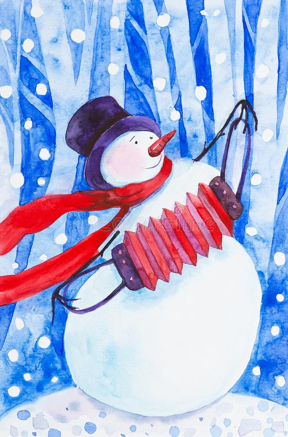 A cheerful snowman in a red scarf and a black hat plays an accordion against the background of falling snow in a winter forest. New year holiday watercolor royalty free illustration