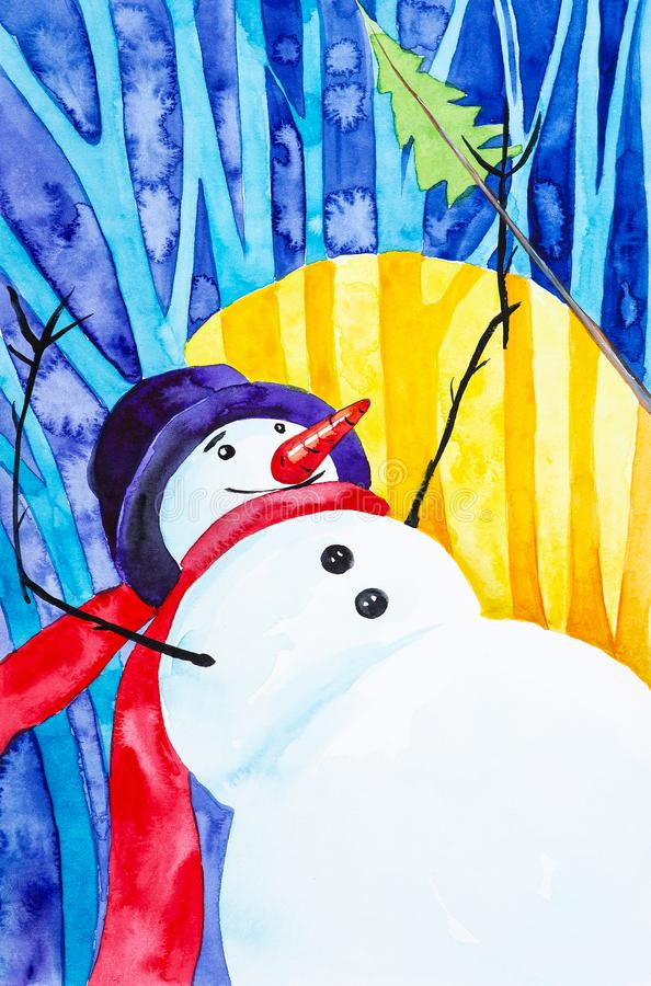 A cheerful snowman in a red scarf and a blue hat holds a Christmas tree. New year holiday watercolor illustration royalty free stock image