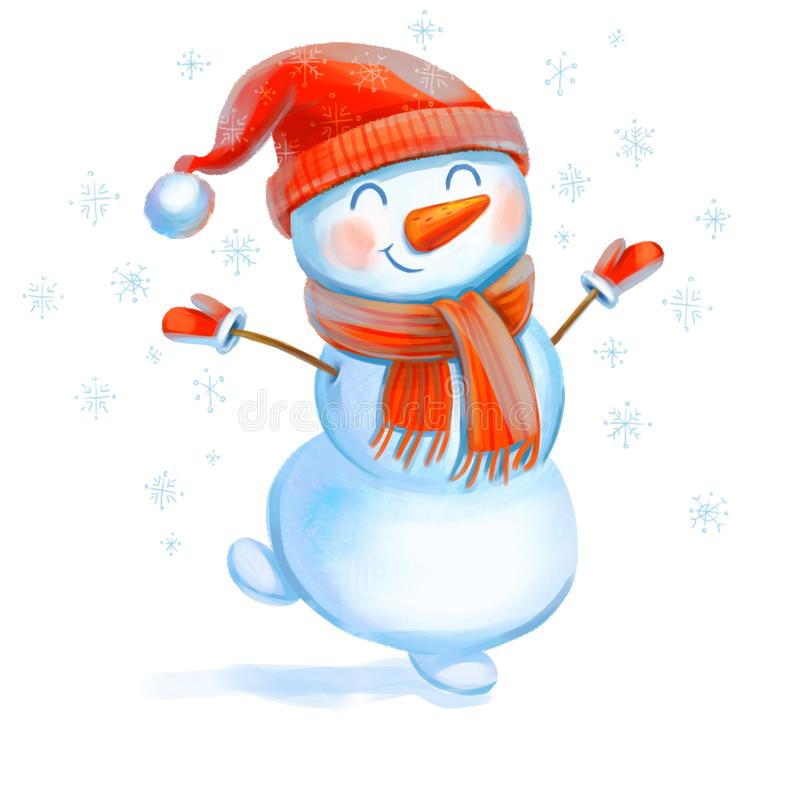 Cheerful snowman. Symbol of the New Year. Funny cartoon character. Isolated on white background. Hand-drawing Illustration royalty free illustration