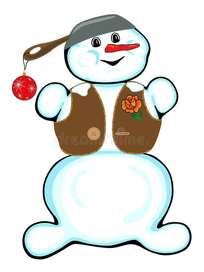 Download Cheerful Snowman On A White Background. Royalty Free Stock Photos - Image: 22821658