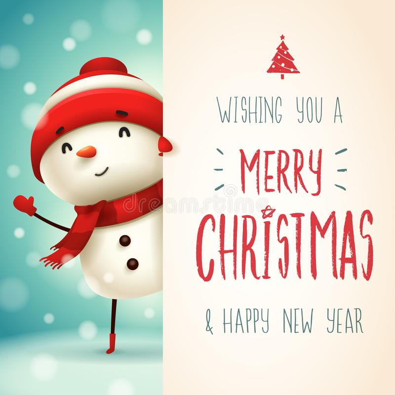 Free Cheerful Snowman With Big Signboard. Merry Christmas Calligraphy Lettering Design. Royalty Free Stock Photo - 132207925