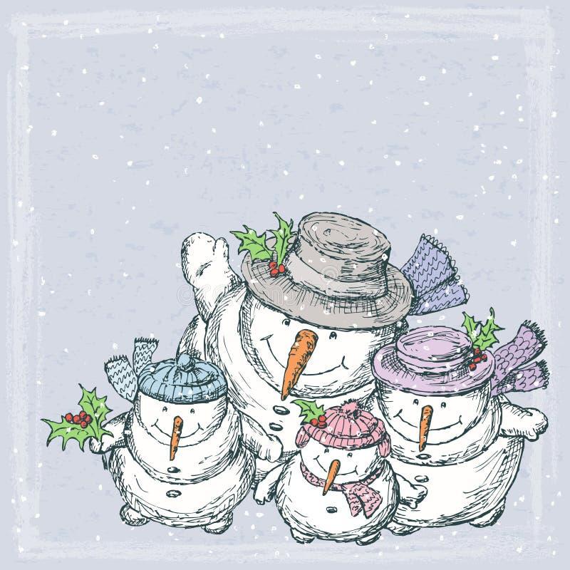 Cheerful snowmen. Vector drawing of the happy snowmen family royalty free illustration