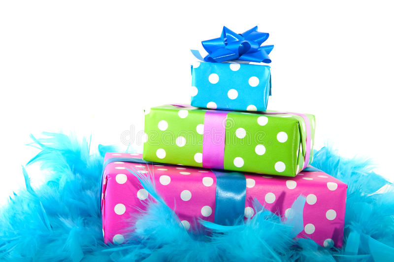 Cheerful spotted presents royalty free stock images