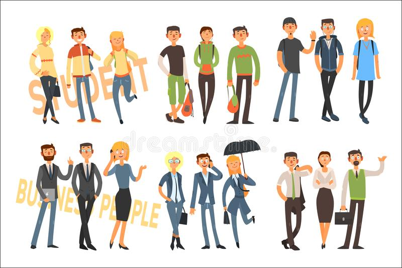 Cheerful students and business people. Young girls and guys in casual outfit. Office workers in formal clothes. Flat. Colorful illustration with cheerful vector illustration