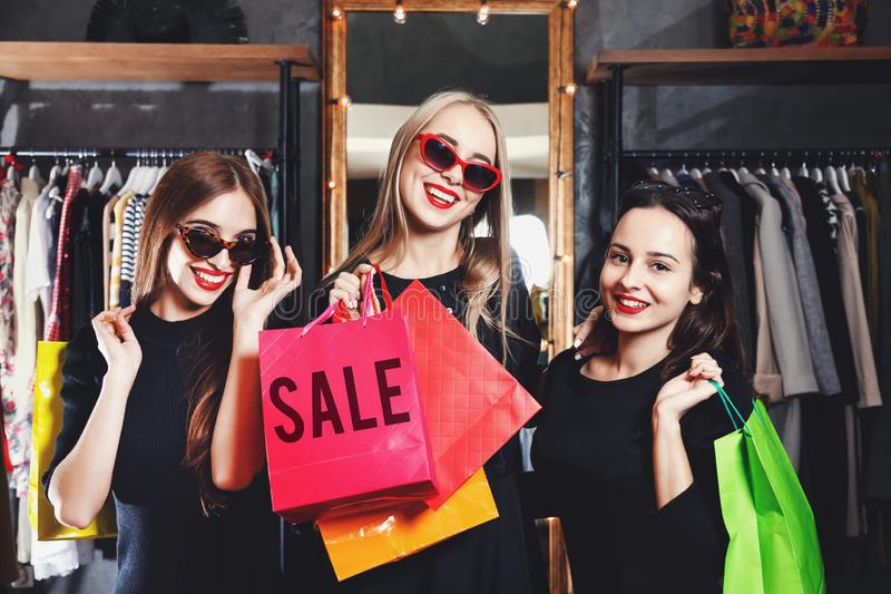 Fashion Blonde Shopper Girl Smiling In The Shop stock images