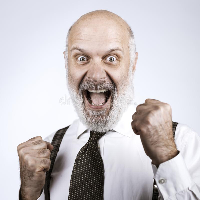 Cheerful successful senior businessman celebrating stock photo