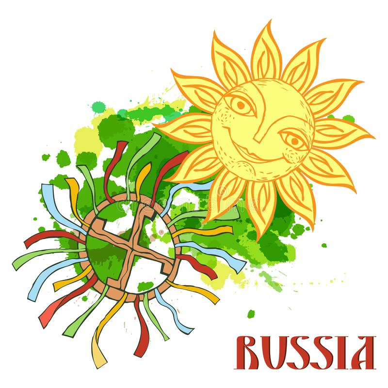 Cheerful sun for the design of summer holidays, picnics, children`s parties. Great weather. Hand-drawn sketch style vector illustration