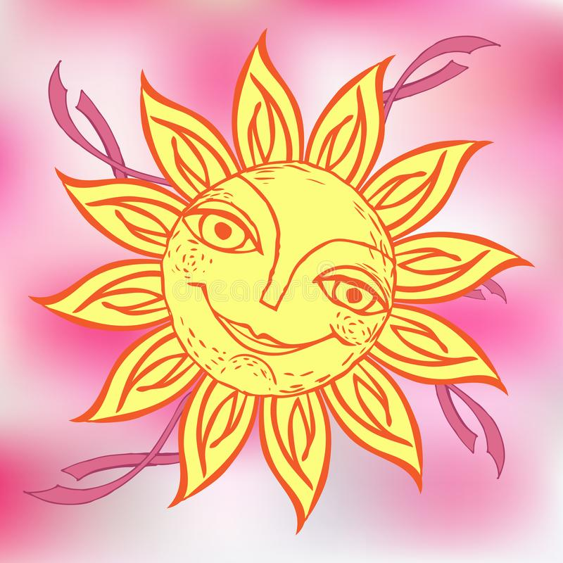 Cheerful sun for the design of summer holidays, picnics, children`s parties. Great weather. Hand drawn sketch style on stock illustration