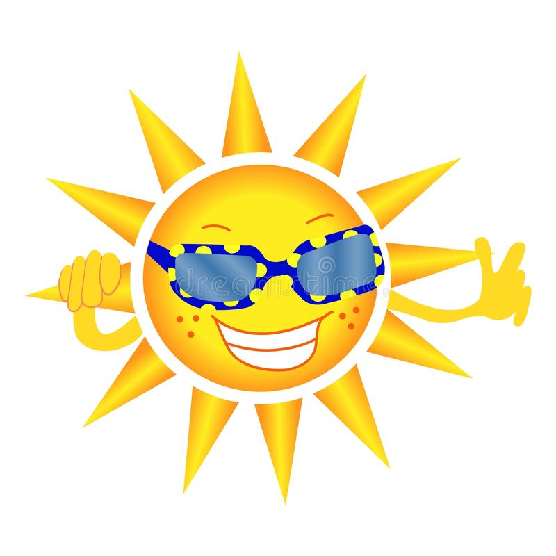 The cheerful sun in glasses smiles and shows a gesture of approval. Vector. White background. vector illustration
