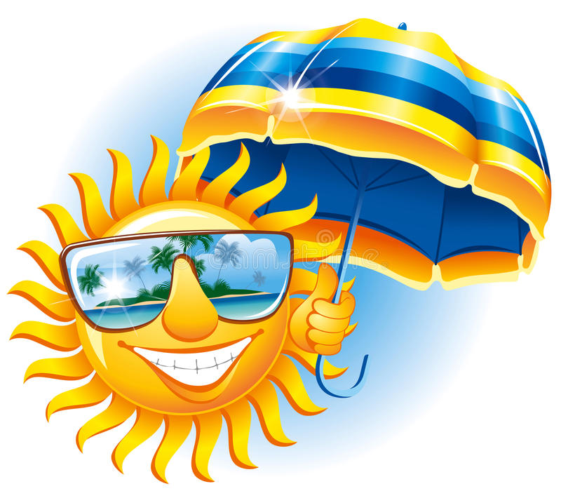 Cheerful sun with an umbrella stock illustration