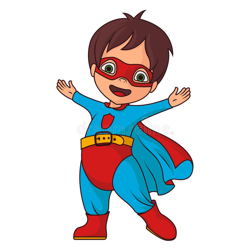 Cheerful super hero boy stock illustration